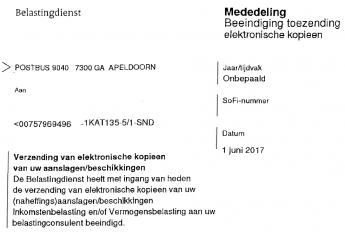 Brief inzake beëindiging elektronische kopieaanslagen (EKA) ontvangen?